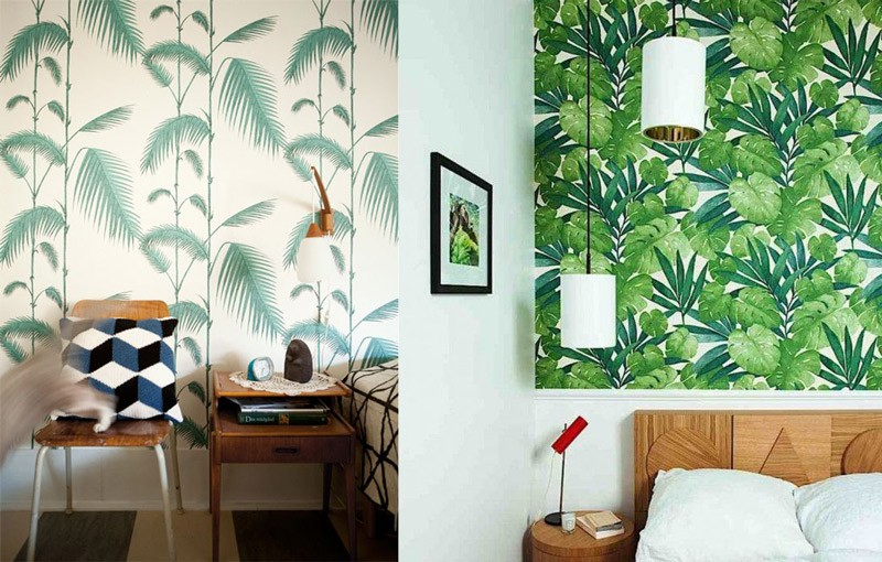 Decoración tropical hits: papel pintado de palmera. Interiorismo y Decoración Madrid R de Room