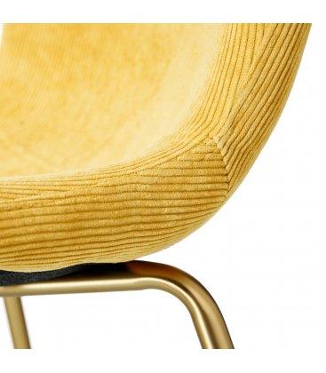 Pack de 2 sillas tapizadas en amarillo y patas doradas CORD