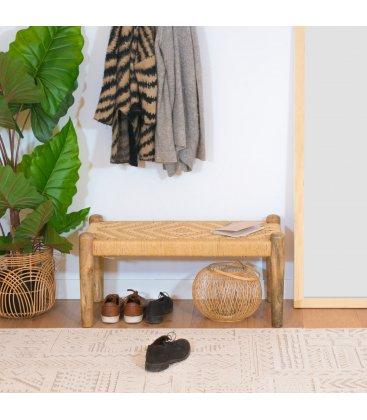 Banco con estructura de madera de mango y asiento de cuerda SETE