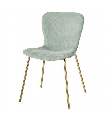 Pack de 2 sillas tapizadas en verde aguamarina y patas doradas CORD