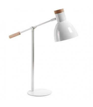 Lámpara de sobremesa SALLY en blanco y madera.