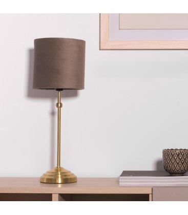 Lámpara de sobremesa de terciopelo gris con estructura dorada VELVETY