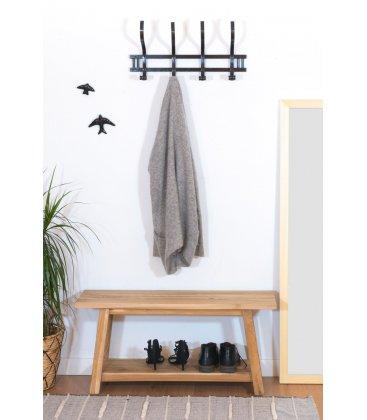 Perchero de pared de madera con acabado negro TELI