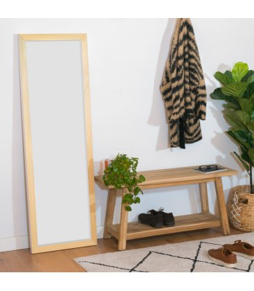 Espejo de cuerpo entero de madera y color blanco BILDE