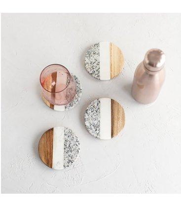 Set de 4 posavasos redondos de mármol y madera tipo patchwork MARBLE 10cm