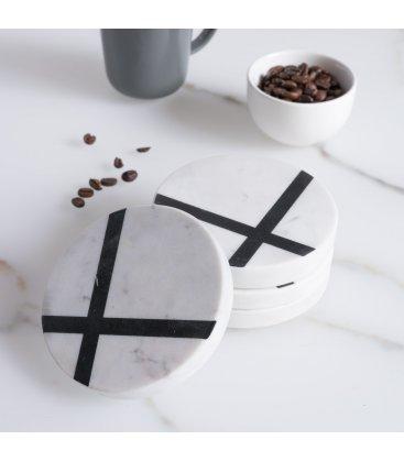 Set de 4 posavasos redondos de mármol blanco y negro MARBLE 10cm