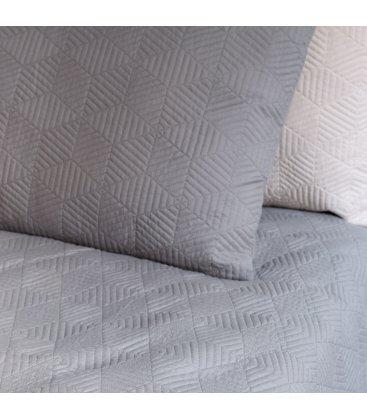 Colcha gris con bordado geométrico LETTE 180x260cm