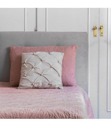 Almohadón rosa con bordado floral ELSA 50x75cm