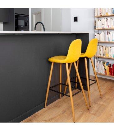 Taburete metal efecto madera tapizado mostaza LISS (2 unidades).
