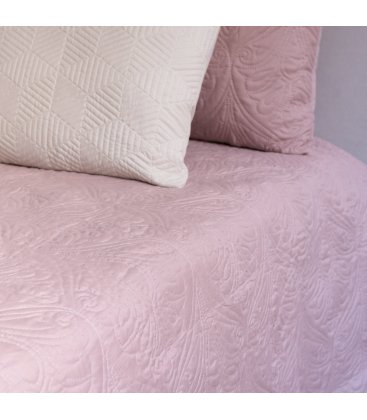 Colcha rosa con bordado floral ELSA 240x260cm