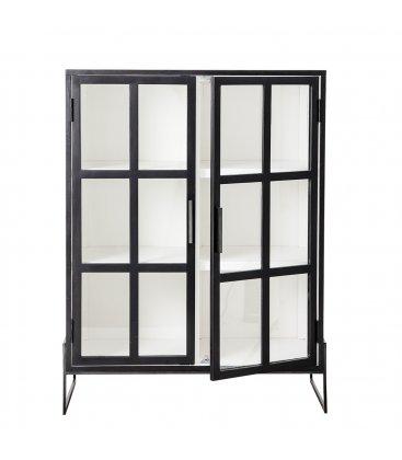 Vitrina negra de madera de roble y cuarterones de vidrio OPAL