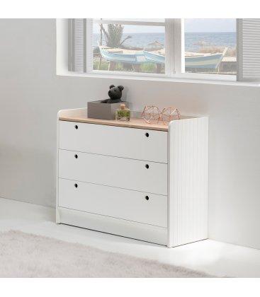 Cómoda blanca y sobre de madera con 3 cajones OIZ