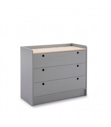 Cómoda gris claro y sobre de madera con 3 cajones OIZ