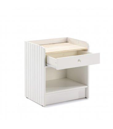 Mesita de noche blanca y sobre de madera con 1 cajón OIZ