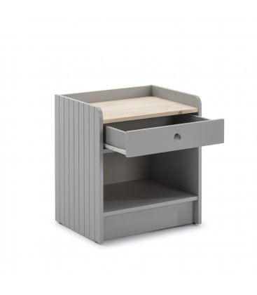 Mesita de noche gris claro y sobre de madera con 1 cajón OIZ