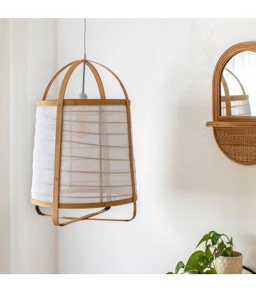 Lámpara de techo de bambú natural y lino TOGO