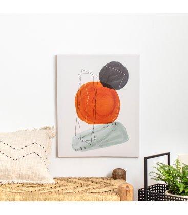 Cuadro abstracto blanco, gris, naranja y negro 40x50 cm METIN 01