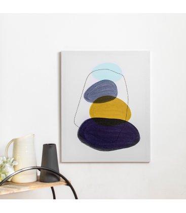 Cuadro abstracto blanco, azul, mostaza y negro 40x50 cm METIN 02