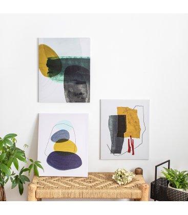 Cuadro abstracto blanco, gris, mostaza, granate y negro 40x50 cm METIN 03