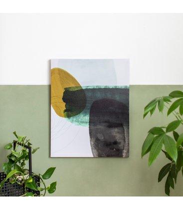Cuadro abstracto blanco, gris, mostaza y verde 40x50 cm METIN 04