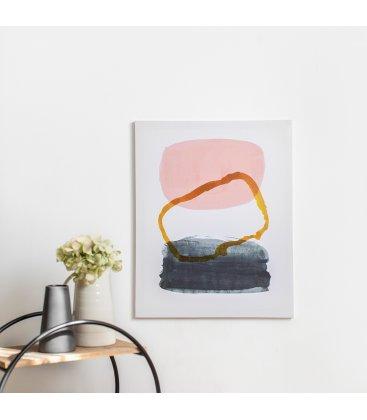 Cuadro abstracto blanco, gris, rosa y mostaza 40x50 cm METIN 05