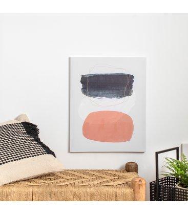 Cuadro abstracto blanco, gris y rosa 40x50 cm METIN 06