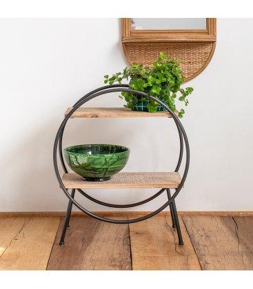 Estantería decorativa de madera y hierro negro LIP