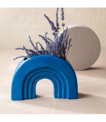 Jarrón cerámico mediano de color azul IRIS