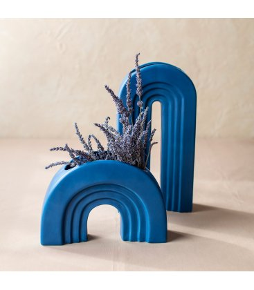 Jarrón cerámico grande de color azul IRIS