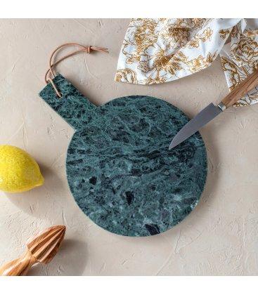 Tabla de cortar redonda de mármol verde con asa VIKA
