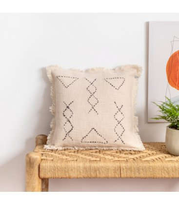 Funda de cojín de algodón beige con flecos y bordado negro KURAL 45x45cm