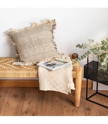 Funda de cojín de algodón con flecos marrón y beige SALAN 45x45cm