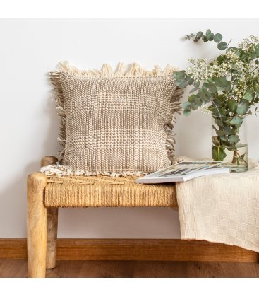 Plaid de algodón beige TUAN (125cmx150cm)