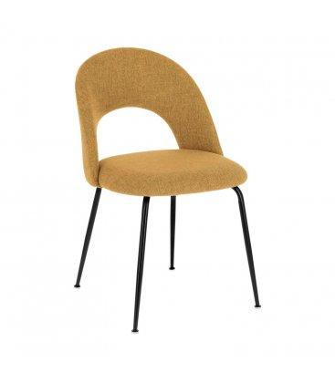 Pack de 2 sillas tapizadas en mostaza y patas negras MALIA