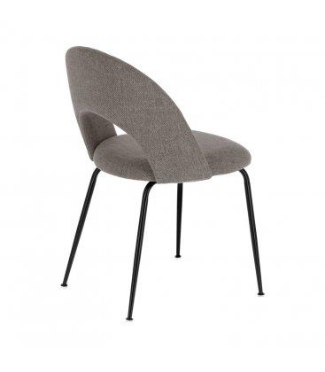 Pack de 2 sillas tapizadas en gris claro y patas negras MALIA