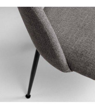 Pack de 2 sillas tapizadas en gris oscuro y patas negras MALIA