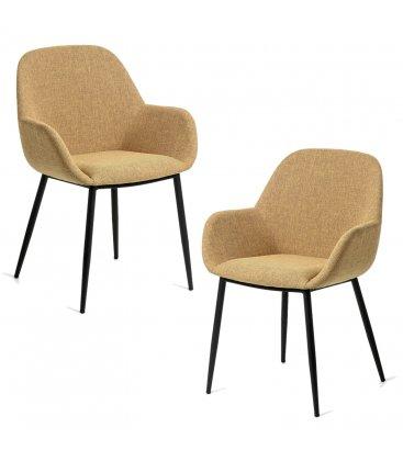 Pack de 2 sillas tapizadas con reposabrazos de color mostaza y patas negras NOOKI
