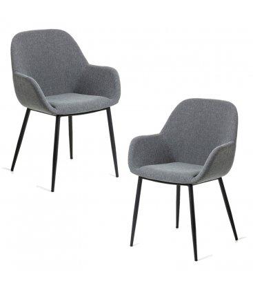 Pack de 2 sillas tapizadas con reposabrazos de color gris oscuro y patas negras NOOKI