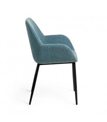 Pack de 2 sillas tapizadas con reposabrazos de color azul y patas negras NOOKI