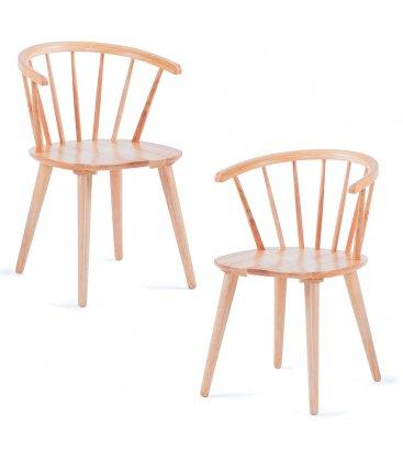 Pack de 2 sillas de madera con reposabrazos en color natural KIRK