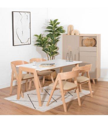 Pack de 2 sillas tapizadas en beige y patas de madera ZIGGY
