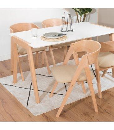 Mesa de comedor rectangular con sobre blanco y patas de madera ZIGGY