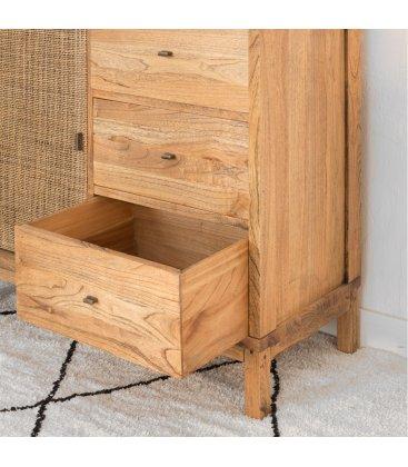 Aparador de madera maciza con 3 cajones y puerta de rejilla NUSA