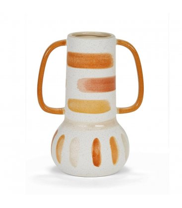 Jarrón cerámico blanco y naranja grande con 2 asas CASABLANCA