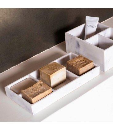 Organizador rectangular efecto mármol compartimentado con 4 huecos YIMPA