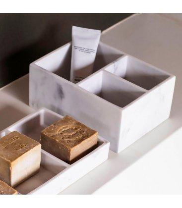 Organizador rectangular efecto mármol compartimentado con 3 huecos YIMPA
