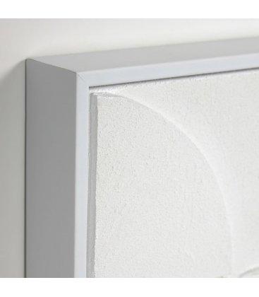 Cuadro abstracto blanco con relieve QANA N01 32x42cm