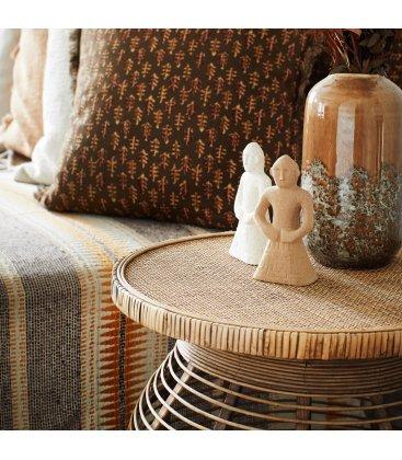 Plaid de algodón reciclado beige, marrón y mostaza LITTER (125cmx150cm)