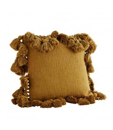 Funda de cojín de algodón mostaza oscuro con borlas JUICE 45x45cm