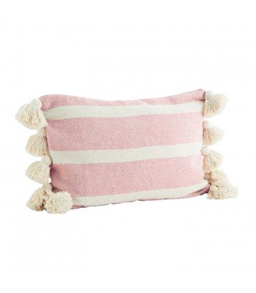 Funda de cojín de algodón rosa con rayas blancas y borlas JUICE 40x60cm